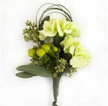 Wedding Corsage & Boutonniere package - Green & White - 24 pc.