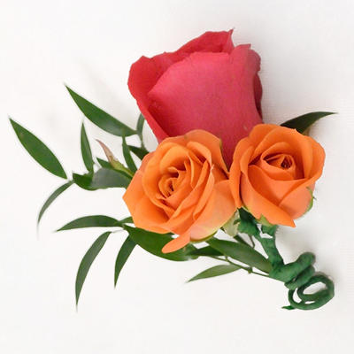 Wedding Corsage & Boutonniere Package - Hot Pink, Green, & Orange - 24 pc.