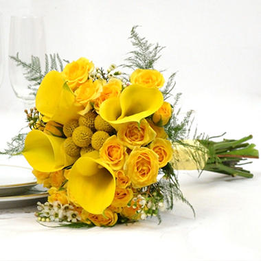 Wedding Collection - Yellow - Bridesmaid Bouquets - 3pc