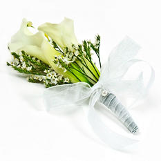 Wedding  Collection  - White Mini Calla  -  Corsages and Boutonnieres - 12pc
