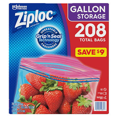 Ziploc Double Zipper Gallon Storage Bags (208 ct.)