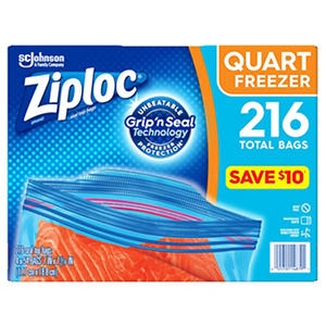 Ziploc Easy Open Tabs Freezer Quart Bags (216 ct)