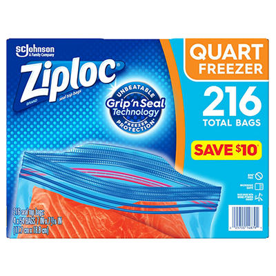 Ziploc® Double Zipper Freezer Bags - Quart - 4/54 ct.
