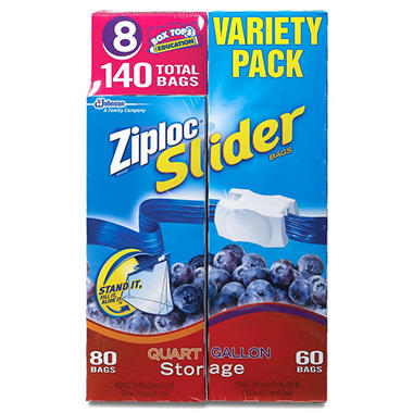Ziploc Easy Zipper Variety Pack - 140 Bags