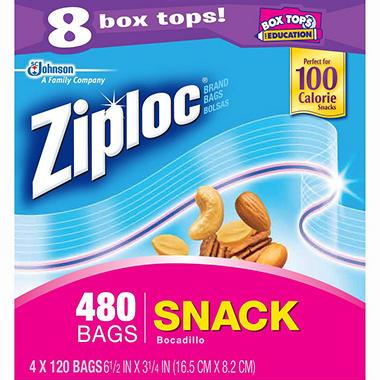 """Ziploc Snack Bags - 6.5"""" x 3.25"""" - 480 ct."""