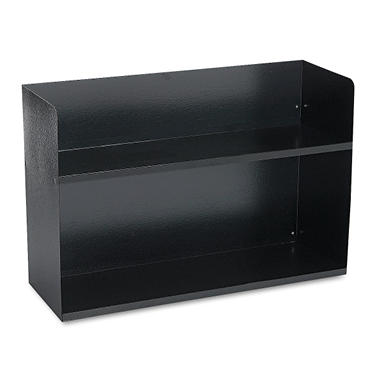 2-Tier Recycled Steel Book Rack w/o Dvdrs - Black