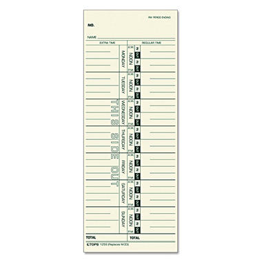 Tops Time Card for Acroprint, IBM, Lathem and Simplex, Weekly, 3-1/2 x 9, 500 per Box
