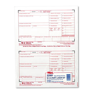 Tops W-2 Tax Form, Six-Part Carbonless, 50 Forms