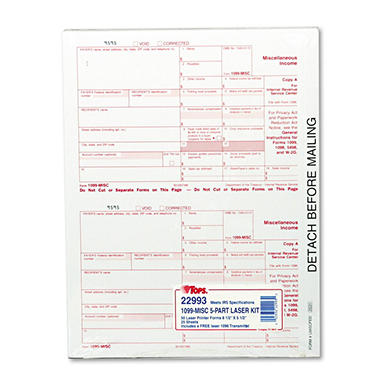 TOPS  - IRS Approved 1099 Tax Form, 8 x 5-1/2, Five-Part Carbonless - 50 Forms