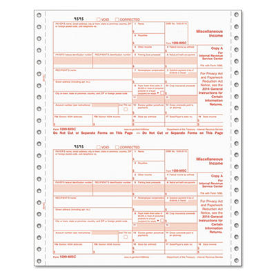 Tops - 1099 Tax Form, IRS Approved, 5-Part Carbonless, 24 Forms
