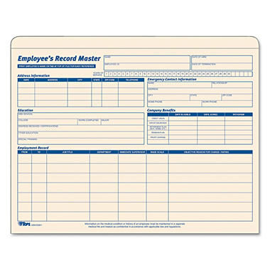 Tops - Employee Record File Jackets