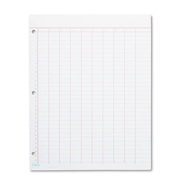 TOPS - Data Pad w/Numbered Column Headings - Wide Rule - Ltr - White - 50 Sheets/Pad