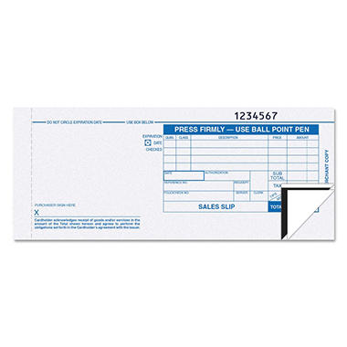 "TOPS - Credit Card Sales Slip, 7 7/8"" x 3 1/4"", 3-Part Carbonless - 100 Forms"