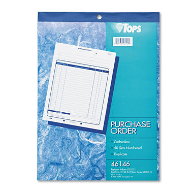 Tops - Purchase Order Book, 8-3/8 x 10 3/16, Two-Part Carbonless - 50 Sets/Book