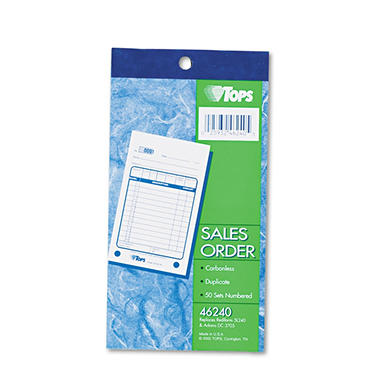 "TOPS - Sales Slip Book, 3 5/8"" x 6 3/8"", 2-Part Carbonless - 50 Sets/Book"
