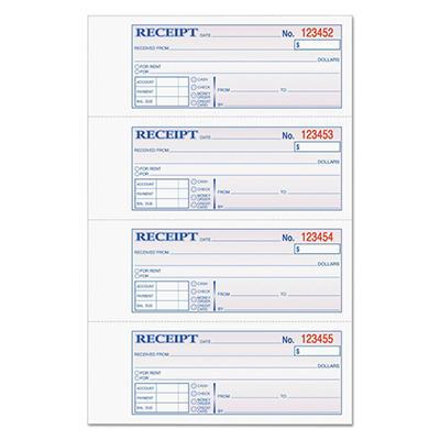 TOPS - Money/Rent Receipt Books, 2-3/4 x 7 1/8, Three-Part Carbonless, 100 Sets per Book