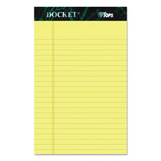 TOPS - Docket Ruled Perforated Pad -Jr. Legal Ruling - 5 x 8 -Canary - 12 50-Sheet Pads/Pack