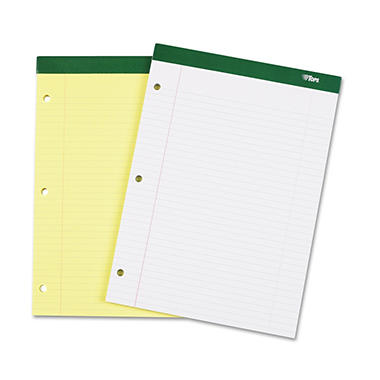 TOPS - Double Docket Writing Pad - College Rule - Letter - Canary - 100 Sheets/Pad