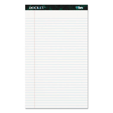 TOPS - Docket Ruled Perforated Pads - Legal Rule/Size - White - 12 50-Sheet Pads/Pack
