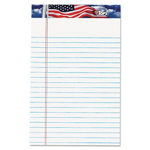TOPS - American Pride Writing Pad - Jr. Legal Rule - 5 x 8 - White - 12 50-Sheet Pads/Pack