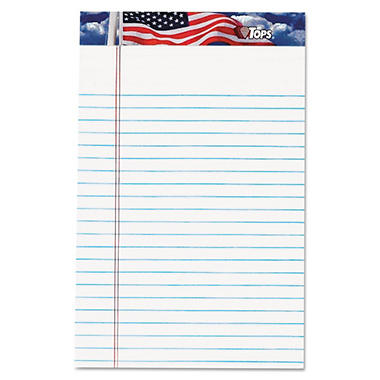 TOPS - American Pride Writing Pad - Jr. Legal Rule - 5 x 8 - White - 12 50-Sheet Pads/Pack