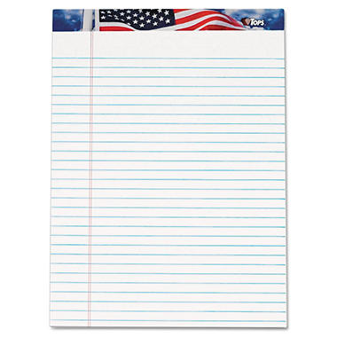 Tops - American Pride Writing Pad, Jr. Legal Rule, 8-1/2 x 11-3/4, White, 50-Sheet, 12 Pack