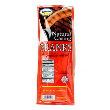 Kowalski Natural Casing Franks - 3 lbs.