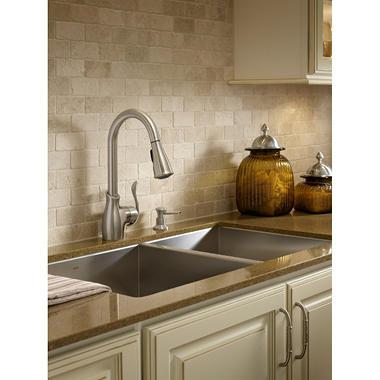 moen boutique pulldown kitchen faucet in spot resist