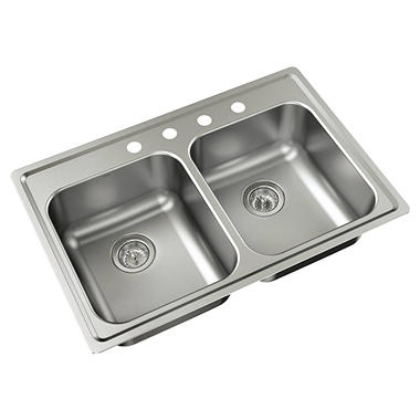 Moen Mather Stainless-Steel Equal Double-Bowl Sink  21770