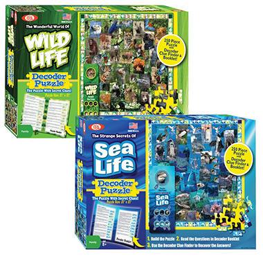 Wildlife/Sealife Decoder Puzzle Combo Pack