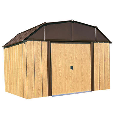 Woodview 10' x 8' Steel Shed with Simulated Wood Finish