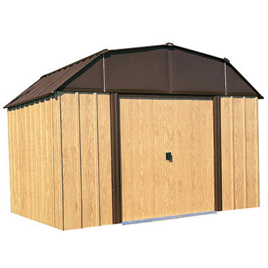 Woodview 10' x 14' Steel Shed with Simulated Wood Finish