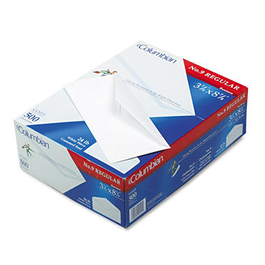 Columbian - Gummed Seal Business Envelope, Executive Style Construction, #9, White - 500 per Box