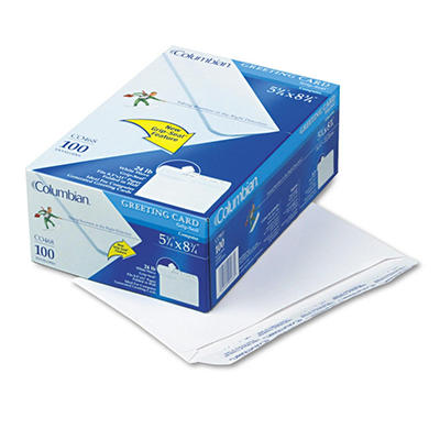 Columbian - Greeting Card Envelope, Grip-Seal, Contemporary, #A9, White - 100/Box
