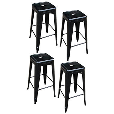 AmeriHome Loft Metal Bar Stools, Black (Set of 4)