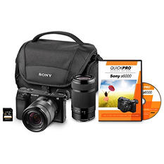 Sony α6000 24MP Interchangeable Lens Bundle with 18-55mm Lens, 55-210 Lens, 32GB SD Card and Camera Case