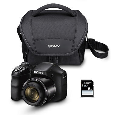 Sony DSCH200 20MP 3-inch LCD Digital Camera Bundle with 26x Optical Zoom, Camera Bag, and 8GB SDHC Card
