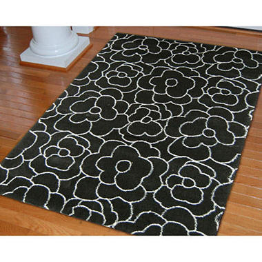 "Carolina Fleece Rosey - 7'10"" x 10'10"" - Black"