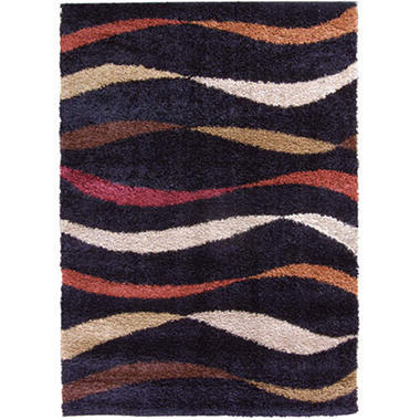 "Streamer Shag Area Rug - Black - 7'10"" x 10'10"""