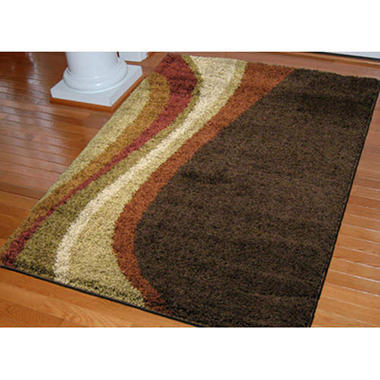 Shag Swoosh Rug - Brown - 7'10