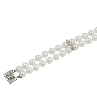 Two-Strand Pearl & Diamond Accent Bracelet
