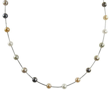 14K White Gold Freshwater Pearl Station Necklace - 17