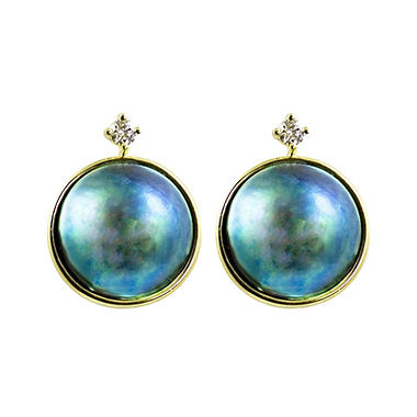 13mm Eyris Blue Pearl & .143 ct. t.w. Diamond Earrings (G-H, VS1)