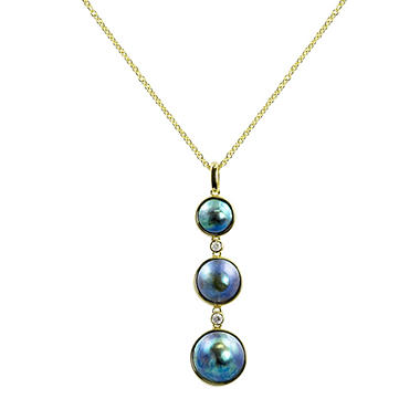 Triple Blue Eyris Pearl & Diamond Pendant
