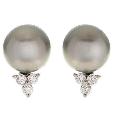 0.19 ct. t.w. Diamond & Tahitian Pearl Earrings