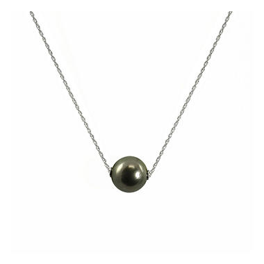 Tahitian Pearl Solitaire Necklace in 14k White Gold
