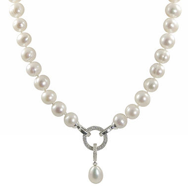 Freshwater Cultured Pearl and Diamond Necklace