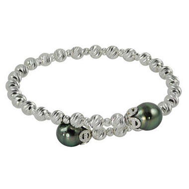 9-10mm Tahitian Pearl Sparkle Bead Bangle Bracelet in Sterling Silver