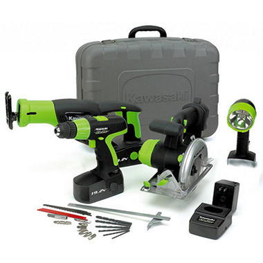 Kawasaki 19.2V Cordless Power Tools Kit - Black - 4 pc.