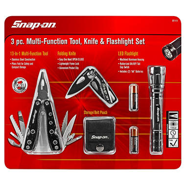 Snap-on 3 Piece Multi-Function Tool with Knife and LED Flashlight Set